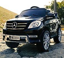 Kinder Geländewagen Mercedes Benz ML350 mit 2x Power-Motor Kann auch optional per Fernbedienung bedient werden.. Realistischer Motorsound.. Eigenschaften: Motor: 2x Elektro POWER-MOTOR MP3 Anschluss Leistung: 25W V-Max 3-4 km/h Batterie 6V Akku 7Ah R...