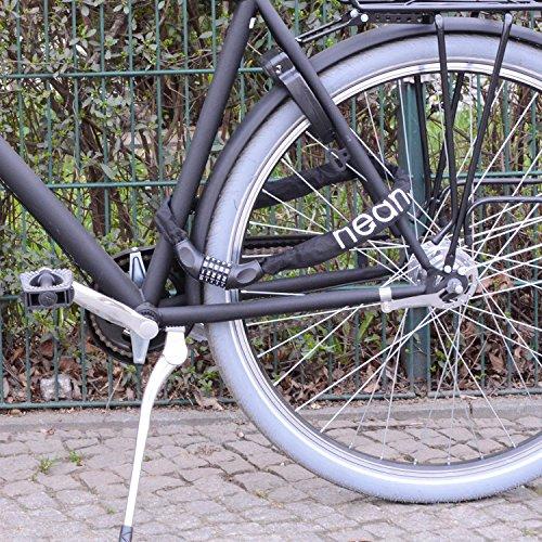 nean Fahrrad-Ketten-Schloss, Zahlen-Code-Kombination-Schloss, Stahlkettenglieder, 6 mm x 900 mm - 3