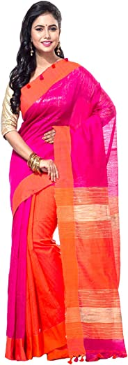 T.J. SAREES Women's Cotton Silk Kushumdola Saree with Blouse Piece (PD1391, Pink and Orange, Free Size)