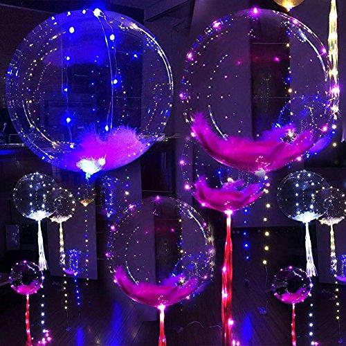 Turelifes Globo LED Light Up Globos transparentes 18''Balloon + 118''LED Multi Light para Navidad / Cumpleaños / Cub / Boda y fiesta (no incluye batería y helio)