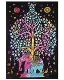 Arbre de la vie Tid Dye Tapis psychédélique suspendu Tapisserie d'éléphants Noir Tapis de la beauté indigène Tapisseries Hippie Tapisserie bohème Tapisserie dormante Tapis décoratif Tapisseries