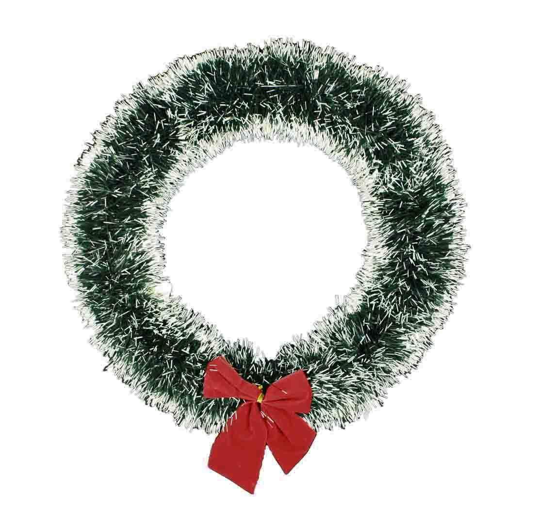 HAAC-Deko-Kranz-Trkranz-Weihnachtstrkranz-Lametten-grn-geschneit-mit-roter-Schleife-30-cm-Nikolaus-Weihnacht