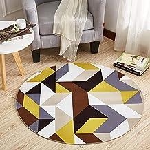 Wlyu0026home Gelber Geometrischer Runder Teppich, Kinderzimmer Rutschfester  Teppich, Schlafzimmer Wohnzimmer Computer