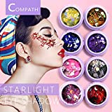 Face Glitter Festival, COMPATH Chunky Face Glitter Festival Glitter Face Glitter Body Glitter Cosmetic Glitter Nails Paillette Glitter Sparkling Decoration Glitter for Cheeks, Bodies, Hair and Nails - 8 PCS