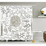 """Nero e Bianco tenda doccia da Yeuss, disegnati a mano scienza tema vintage chimica laboratorio illustrazione, tessuto arredo bagno Set con ganci, nero e bianco 152,4x 182,9cm, 72""""x72""""(180cmx180cm)"""