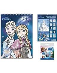 Set: Frozen, El Reino Del Hielo, Calendario Para Colorear 2017 (42x30 cm) Con 1x Set De Chapas (15x10 cm)