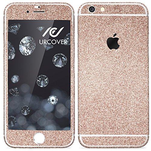 Urcover® Glitzer-Folie zum Aufkleben | Apple iPhone 6 Plus / 6s Plus | Folie in Champagner Gold | Zubehör Glitzerhülle Handyskin Diamond Funkeln Schutzfolie Handy-schutz Luxus Bling Glamourös