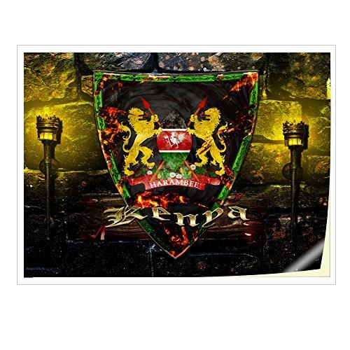 Virano Wappen Kenia, Skin-Aufkleber Folie Sticker Laptop Vinyl Designfolie Decal mit Ledernachbildung Laminat und Farbig Design für Laptop 14