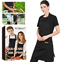 SCOBUTY Barbecue apron,Adjustable Cooking Apron,Men and Women Cooking Apron,Waterproof cooking apron with pockets…