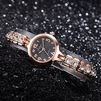Womens Quartz Watches,ulanda-eu Lvpai Analog Clearance Lady Wrist Watch Female Watches On Sale Watches For Women,round Dial Case Comfortable Stainless Steel Wristwatch M77 (Gold & Black) 3