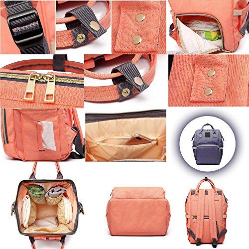 KINDOYO Multifunzione grande capacità borsa a tracolla borse mummia Fashion materna gravidanza Donna - Vino rosso Viola 2