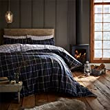 Tartan Check blau wendbar 100% gebürsteter Baumwolle Single Bettbezug