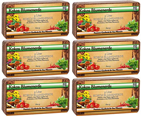 Humusziegel - torffreie Kokoserde für Aussaat und Anzucht, 50 L, 6 x 600 g