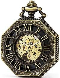 SEWOR Octagon Old School Estilo Hollow números Romanos mecánica Mano Viento Reloj de Bolsillo (Bronce)