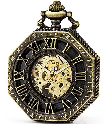 SEWOR Octagon Old School Style Hollow Roman Numerals Mechanical Hand Wind Pocket Watch (Bronze)