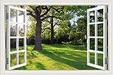 3D-Wandaufkleber, Fenster mit Sonne und Ahornbäumen-Landschaft, Tapete, Vinyl-Aufkleber, W0274, 32