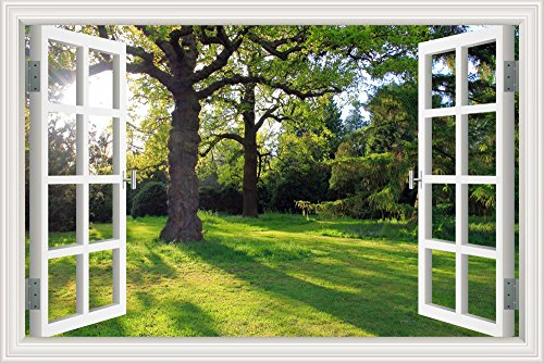 """Pegatina de vinilo para pared con paisaje de sol y árbol de arce (ventana 3D), W0274, 32""""X48"""""""