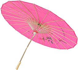Generic Handmade Chinese Cloth Floral Umbrella Wedding Dance Props - rose red