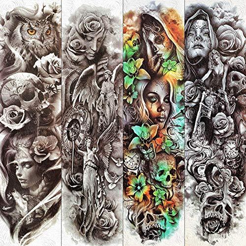 Engel Kostüm Göttin - Temporäre Tätowierung Waschbar Gefälschte Full Arm Temporäre Tätowierung Aufkleber Freiheitsstatue Engel Göttin Tattoos Frauen Körperkunst Make-Up Tattoo Papier