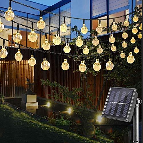 (LED Solar Lichterkette mit LED Kugel 6.5 M 30 LEDs 8 Modi IP65 Wasserdicht Warmweiß Lichterkette mit Lichtsensor, Kristallbälle Weihnachtsdeko Dekorative Beleuchtung für Garten, Terrasse, Hof, Haus, Party)