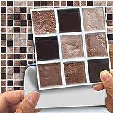 DXHH 18 STÜCKE Bereiftes Brown Fliesen Aufkleber Dekorative Aufkleber Kreative Rutschfeste Selbstklebende Wandtattoos Floor Sticke