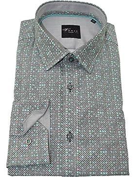 Venti Herrenhemd anthrazites Hemd mit Druck langarm Kent Kragen ohne Tasche Kollektion Size 46