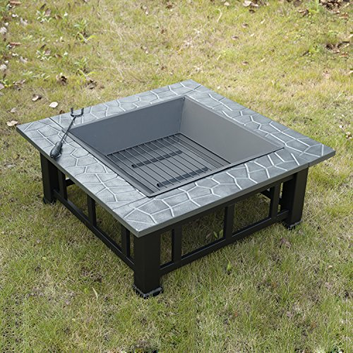 Outsunny outdoor garden metal firepit fire pit brazier for Outsunny garden furniture covers