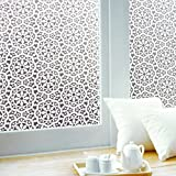 Concus-T Fensterfolie Selbstklebend UV Sonnenschutz Statisch Folie Blickdicht Sichtschutzfolie Ohne Klebstoff Dekorfolie Design Geometric Blume 90x200cm