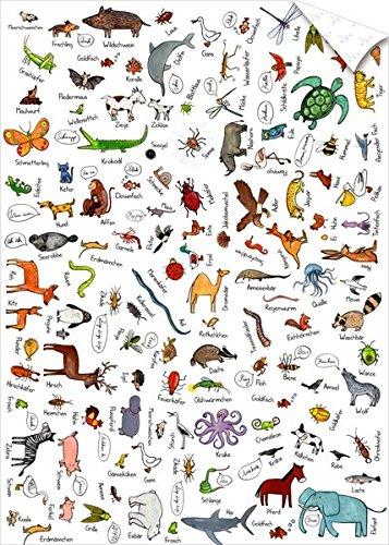Geschenkpapier-Bogen - So viele Tiere