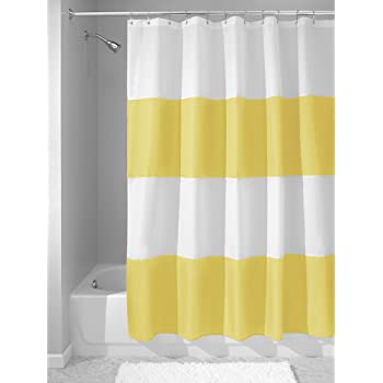InterDesign Zeno Fabric Shower Curtain Long Polyester Screen With Block Colour Pattern Design Yellow White