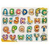 robud Alphabet Puzzle Holz Puzzle Grosse Bunte Buchstaben Kinder Spielzeug Holzspielzeug Für Spielerisches Lernen des ABC Alphabet, Spiele Geschenk für lebhafte Mädchen Jungen
