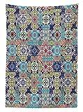 Yeuss Patchwork-Tischdecke, Antikes Azulejo-Fliesen mit arabesken Einfl¨¹ssen historischer portugiesischer Blumen, Ess