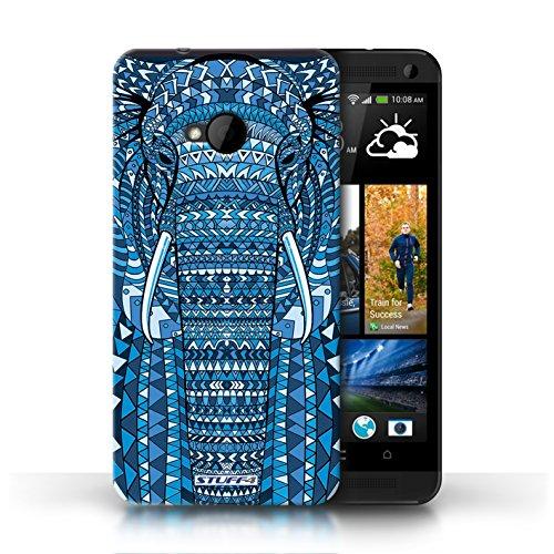 Coque de Stuff4 / Coque pour HTC One/1 M7 / Loup-Bleu Design / Motif Animaux Aztec Collection éléphant-Bleu