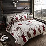 Happy Linen Co Tartan Stags Reversible Duvet Cover Bedding Set Brown Red Double