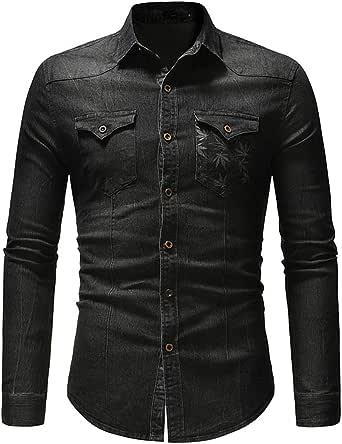Shirt Men Tops Men's Casual Fashion Design Lapel Buttons Slim Fit Temperament Fashion Denim Men Shirt Autumn New Comfortable Classics Casual Men's Tops with Pockets
