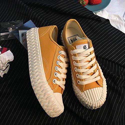 Scarpe casuali delle scarpe da donna ondulate primavera ed estate scarpe sportive di tela di canapa Yellow