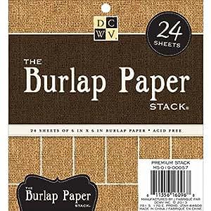 Toile de jute recouverte de papier de papier cartonné empiler 6 « X 6 » 24/feuilles-Natural
