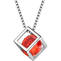 Aurora Tears 925 Sterling Silver Birthstone Necklaces Stud Earrings Jewellery Sets Gifts Square Birth Stone Pendant for Women and Girls