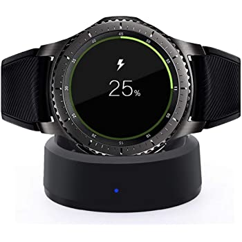 AWINNER Charger Galaxy Gear S3, Replacement USB Charger Adapter Charge Cord Charging Cable Samsung Galaxy Gear S3 Smart Watch (Gear S3 Charging Dock) (BLACK)