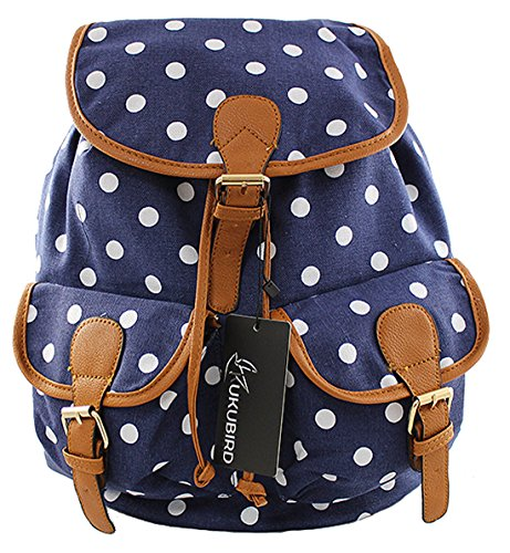 Kukubird POLKA DOT Backpack SPOTTY Rucksack School Bag - DOUBLE POCKET (NAVY) (Stoff Handtaschen Polka Dot)