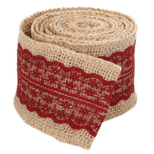 Jute Burlap Band-Rolle mit Purplish rote Spitze 2,4