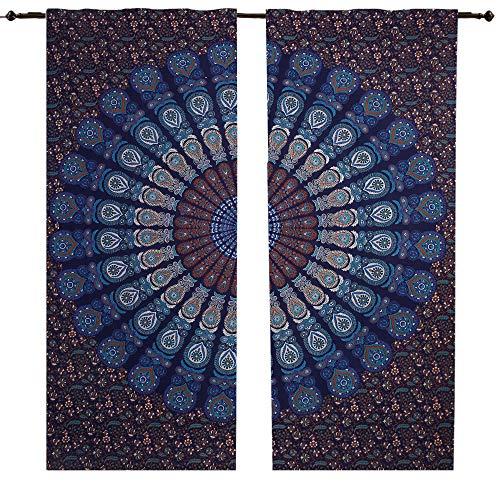 Blau mirchi Pfau Mandala Vorhang Set von 2Boho Mandala Wandbehang, Indian Bohemian Mandala Pfau Vorhang, indischen Vorhänge Mandala Fenster Behandlung Door Hanging, Vorhang Volants Raumteiler 2PC - Hanging Rod Vorhang