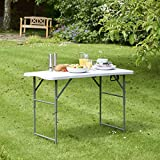 VonHaus 4ft (1.2m) Adjustable Height Folding Trestle Table for Picnic/Garden/Beach/Camping/Parties | Max Load 200Kg | Coated Steel + Extra Strength Durable Plastic (Grey)
