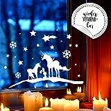 Fensterbild Einhörner Winter -WIEDERVERWENDBAR- Fensterdeko Einhorn Fensterbilder Winterlandschaft 28cm breit x 14cm hoch + Sterne & Schneeflocken M2259