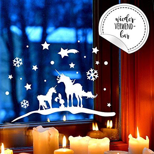 Fensterbild Einhörner Winter -WIEDERVERWENDBAR- Fensterdeko Einhorn Fensterbilder Winterlandschaft 40x20cm + Sterne & Schneeflocken M2259 ilka parey wandtattoo-welt®