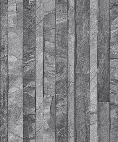 UGEPA J86709 Vliestapete Granitplatten, steingrau