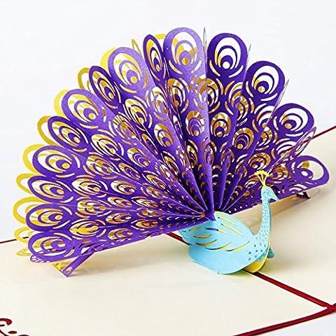 Paper Spiritz Peacock 3d Pop Up Carte de voeux Satisfait ou remboursé Correspondant Postcard Envelope Cutting Laser Handmade Birthday Mother's Day Postcard Cadeau pour maman Kids Purple with Red Cover