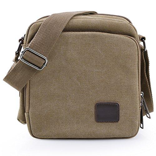 Han Lucky Star Unisex Vintage Canvas Kleine Umhängetasche Messenger Bag Handtasche Schultertasche (Khaki) (Canvas Star)
