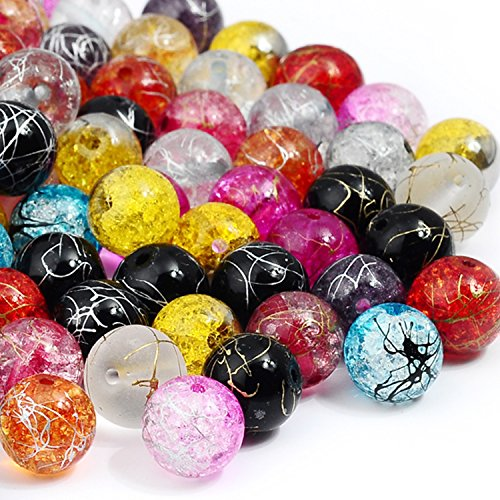 rubyca sortiert gemischt gyelpoi gepresst Glas rund Perlen tschechischen Kristall Crackle Splash Paint, Kristall, 200 Pcs, 6 mm - Kristall Tschechische Gläser