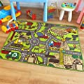 Superb Kids Childs Rug Construction Site Road Map Play Mat 100cm x 133cm (3'3 x 4'3 approx) produced by The Good Rug Company - quick delivery from UK.